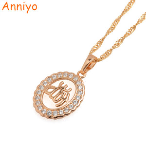 Anniyo Cubic Zirconia Islam Necklaces for Women/Girl Gold Color Charms Arab Muslims Allal Pendant Jewelry Gifts #045604