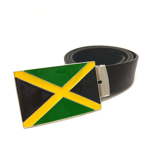 Jamaican flag mens leather belt - other flag buckles available.