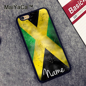 MaiYaCa flag of Jamaica personalised name Soft TPU Cases for iPhone 6 6s