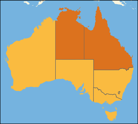 Map of Australia, the Northern Territory and Queensland are highlighted.