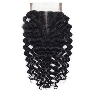 Premium Brazilian Deep Wave Middle Part Lace Closure With Baby Hair