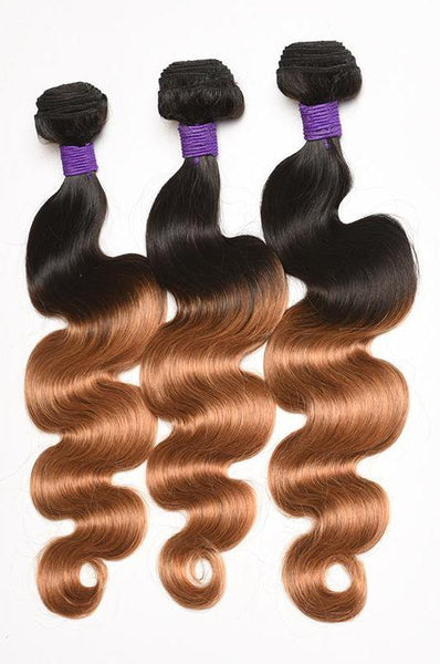 Ombre Hair 1B/27 Brazilian Body Wave  3 Bundles Deal Remy Hair