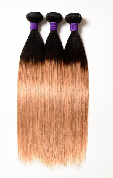 Ombre Brazilian Straight 3 Bundle Deal Remy Hair 1B/27