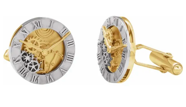 Clock Design Cufflinks in Gold