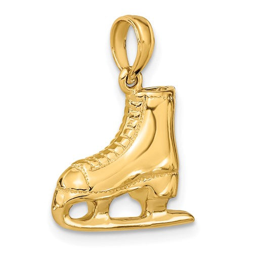 Ice Skate Charm in Gold