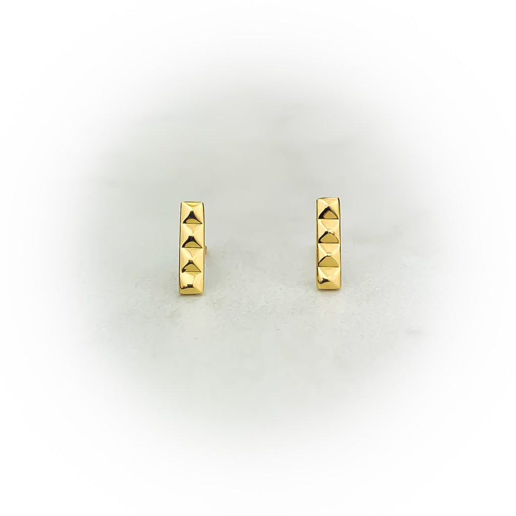 Gold Pyramid Bar Earrings
