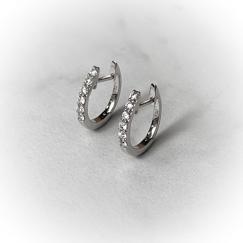 Oval Diamond Huggy Earrings