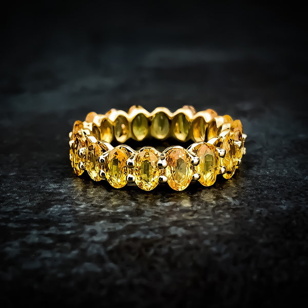 Orange Sapphire Eternity Band in 18k Yellow Gold