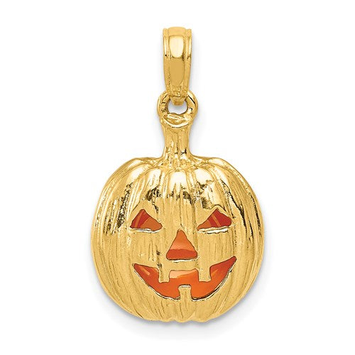 Enameled Jack-O-Lantern Charm in Gold