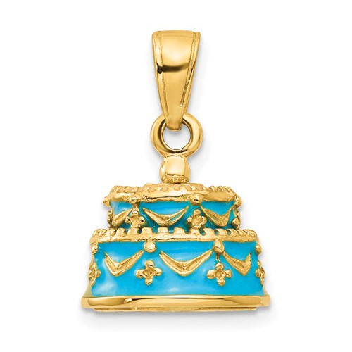 Happy Birthday Cake Charm in Gold