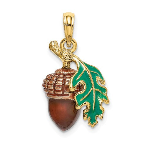 Enameled Acorn Charm in Gold