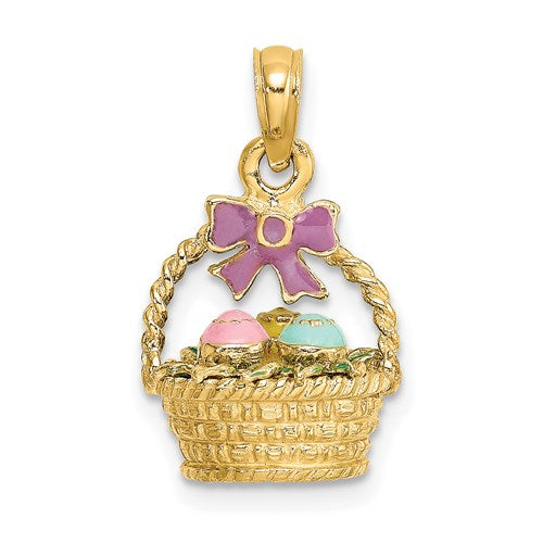 Enameled Easter Basket Charm in Gold