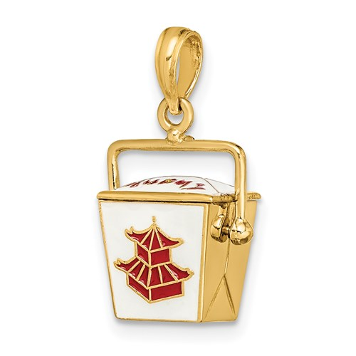 Enameled Chinese Takeout Charm in Gold