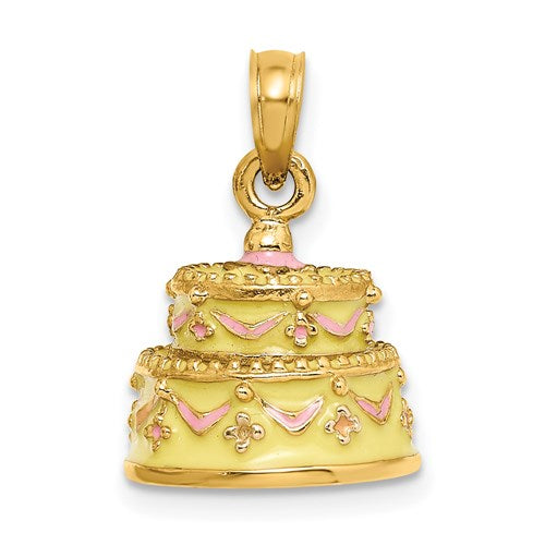 Happy Anniversary Cake Charm in Gold