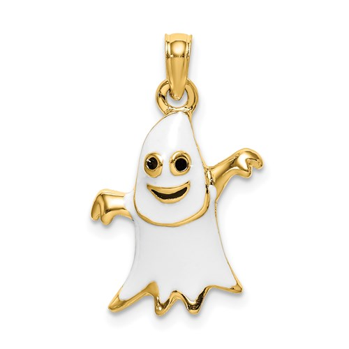 Enameled Ghost Charm in Gold