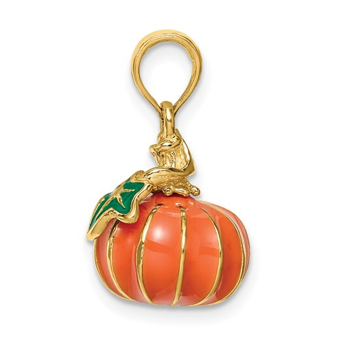 Enameled Pumpkin Charm in Gold
