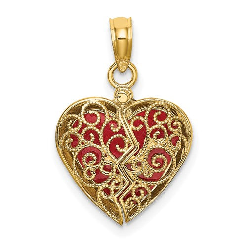 Enameled Heart Charm in Gold