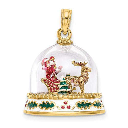 Enameled Snow Globe Charm in Gold