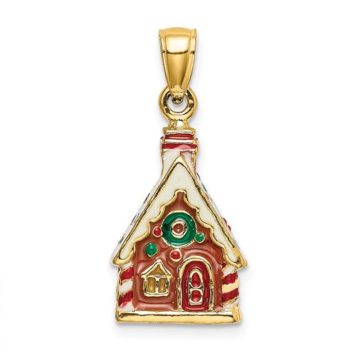 Enameled Gingerbread House Charm in Gold