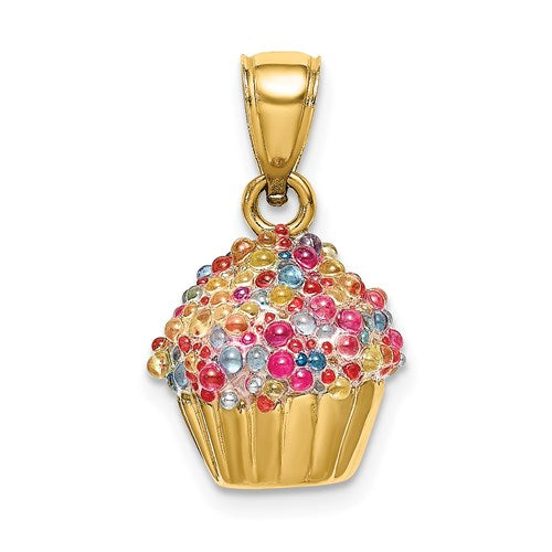 Enameled Cupcake Charm in Gold