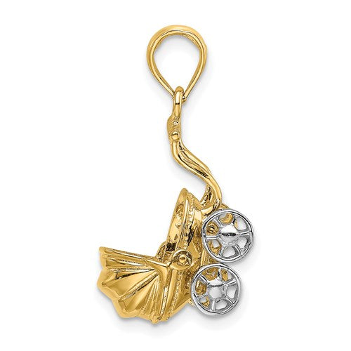 Baby Stroller Charm in Gold
