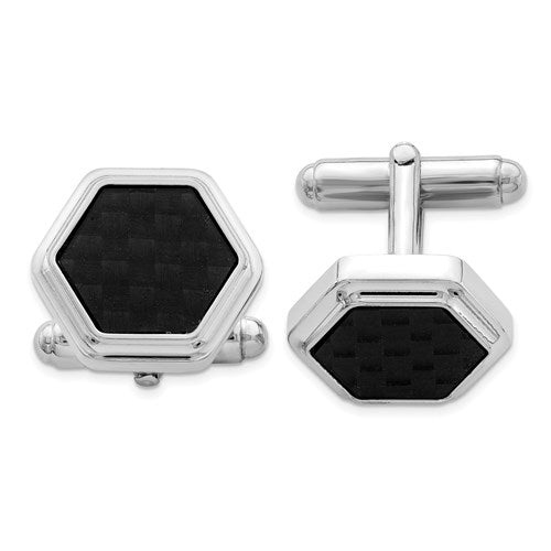 Cufflinks in Sterling Silver and Carbon Fiber