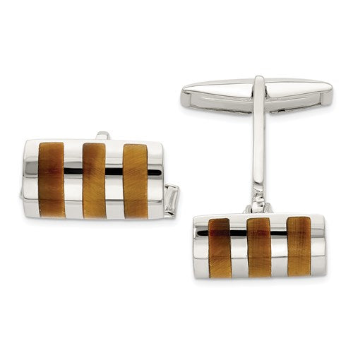 Rectangle Cufflinks in Sterling Silver and Tiger's Eye
