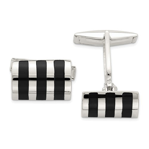 Rectangle Cufflinks in Sterling Silver and Onyx