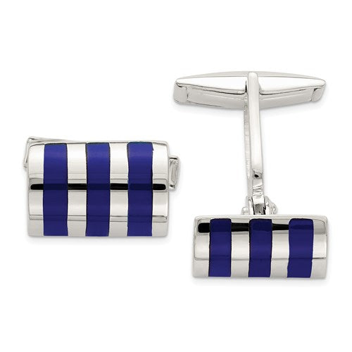 Rectangle Cufflinks in Sterling Silver and Lapis