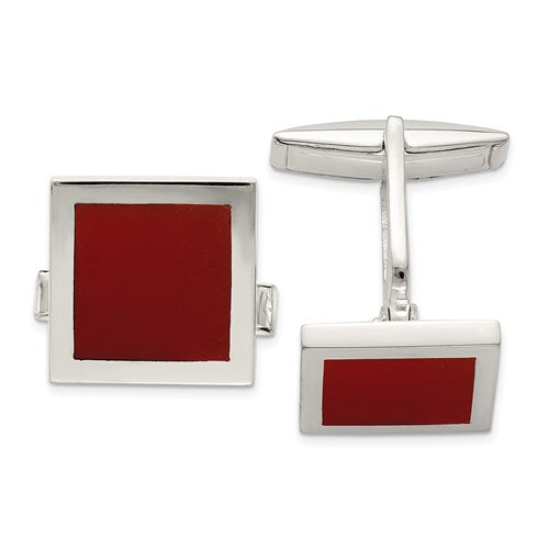 Square Cufflinks in Sterling Silver and Red Agate