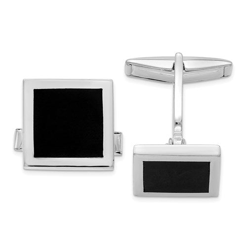 Square Cufflinks in Sterling Silver and Onyx
