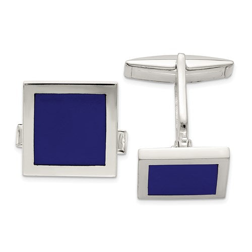 Square Cufflinks in Sterling Silver and Lapis