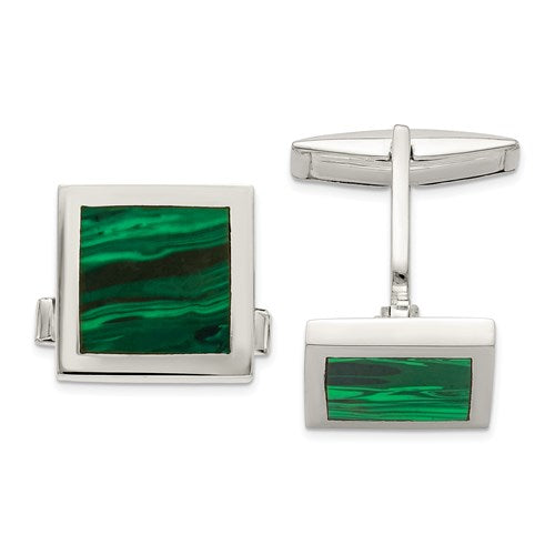Square Cufflinks in Sterling Silver and Malachite