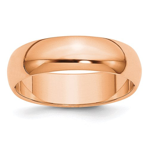 Wedding Band in Rose Gold - 6mm Half Round