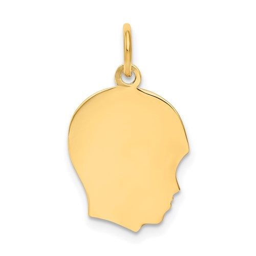 Engravable Medium Boy Head Charm in Gold