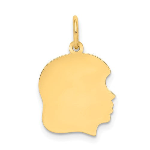 Engravable Medium Girl Head Charm in Gold