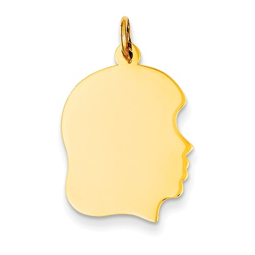 Engravable Large Girl Head Charm in Gold