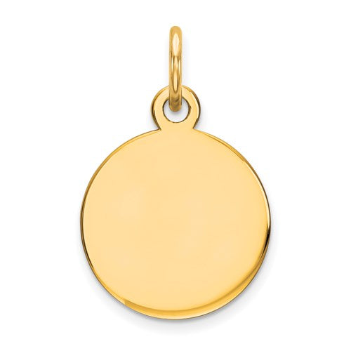 Engravable Round Disc Charm in Gold