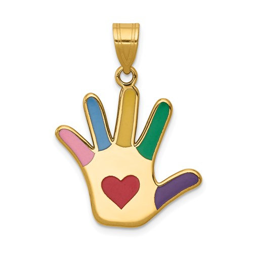 Autism Awareness Handprint Charm in Gold