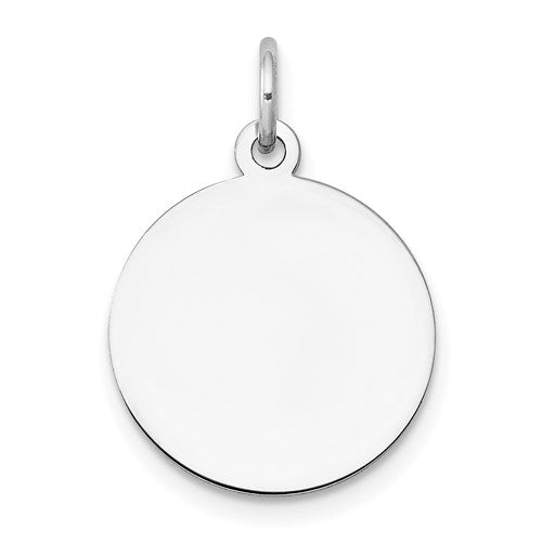 Engravable Round Disc Charm in White Gold