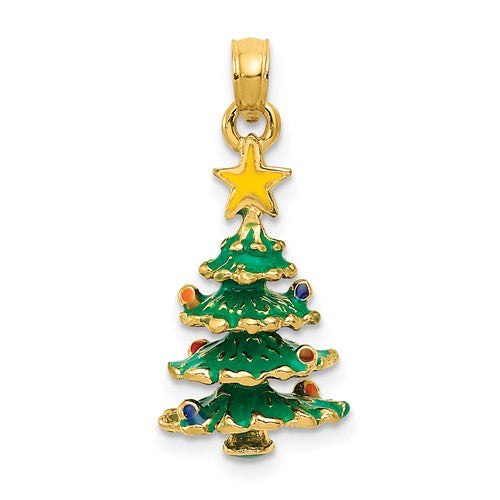 Enameled Christmas Tree Charm in Gold