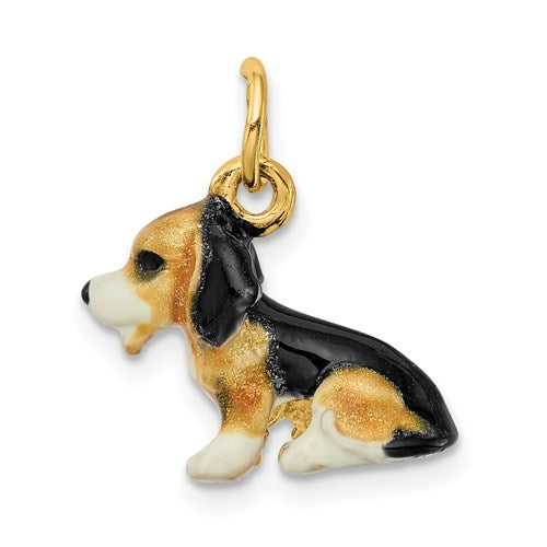 Enameled Beagle Charm in Gold
