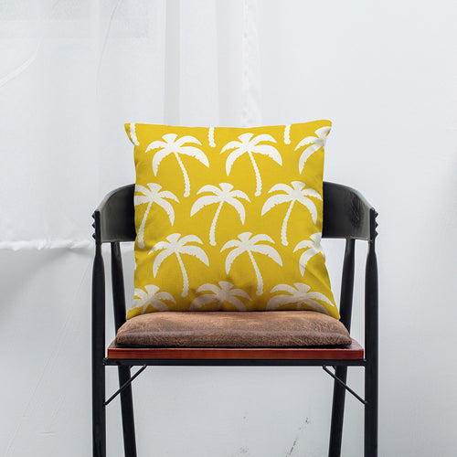 Yellow Geometric Lines Cotton Linen Pillow Case Cushion Cover