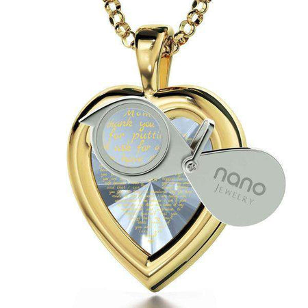24K Gold Plated Heart Frame Thank You Mom with Zirconia Nano Jewelry-Israel-Cart