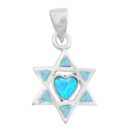 A Beautiful Heart in a Star of David Necklace, Silver & Opal-Israel-Cart