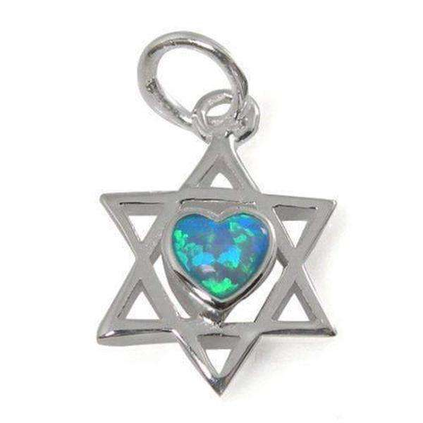 A Classic Star of David Necklace with Heart, Silver & Opal-Israel-Cart