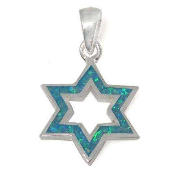A Stand out Star of David Necklace, Silver & Opal-Israel-Cart
