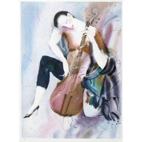 "Alexander Klevan ""The Cellist I"" 1995 Lithograph-Israel-Cart"