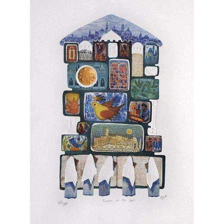 "Amram Ebgi  ""Prayers at the Wall"" Lithograph-Israel-Cart"