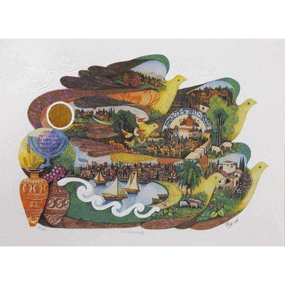 "Amram Ebgi ""On Doves Wings"" Lithograph-Israel-Cart"